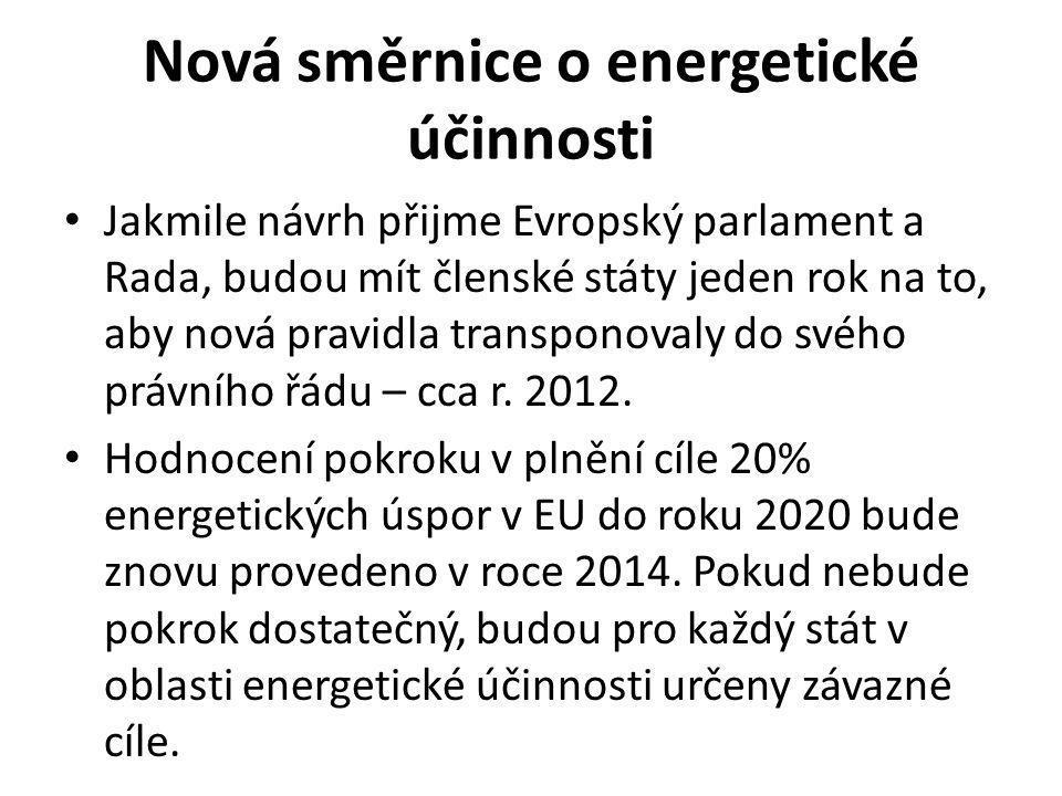 Nová směrnice o energetické účinnosti Jakmile návrh přijme Evropský parlament a Rada, budou mít členské státy jeden rok na to, aby nová pravidla transponovaly do svého právního řádu – cca r.