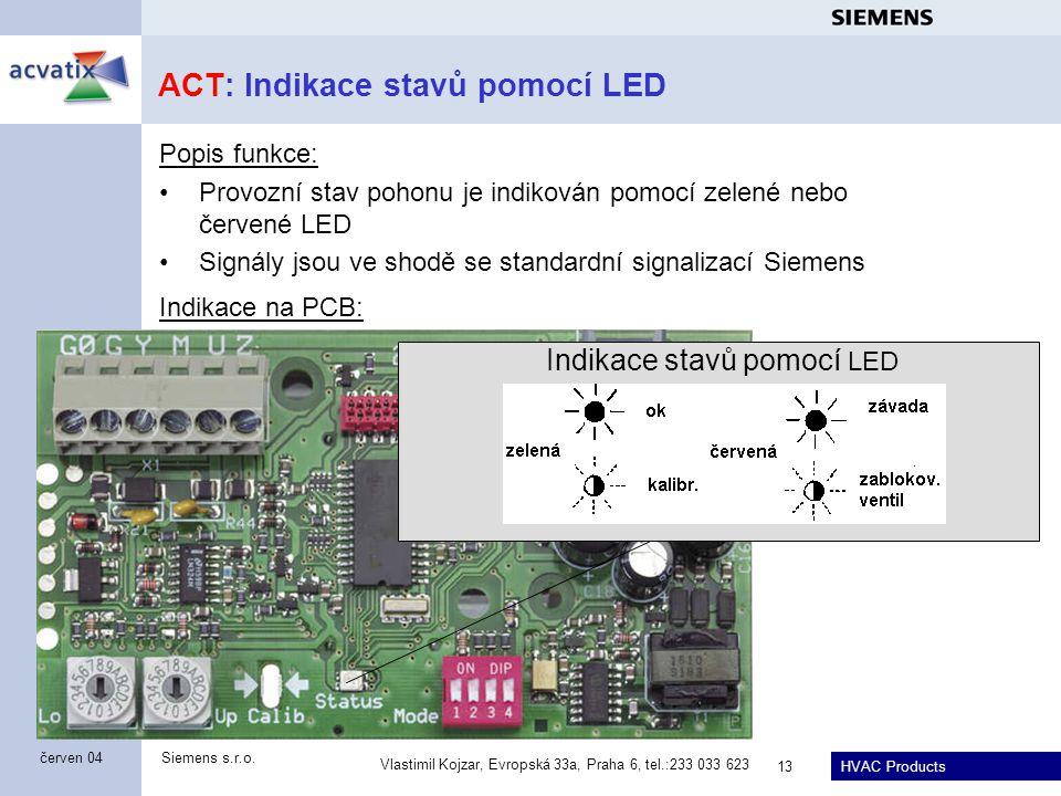 HVAC Products Siemens s.r.o. Vlastimil Kojzar, Evropská 33a, Praha 6, tel.:233 033 623 13 červen 04 ACT: Indikace stavů pomocí LED Popis funkce: Provo