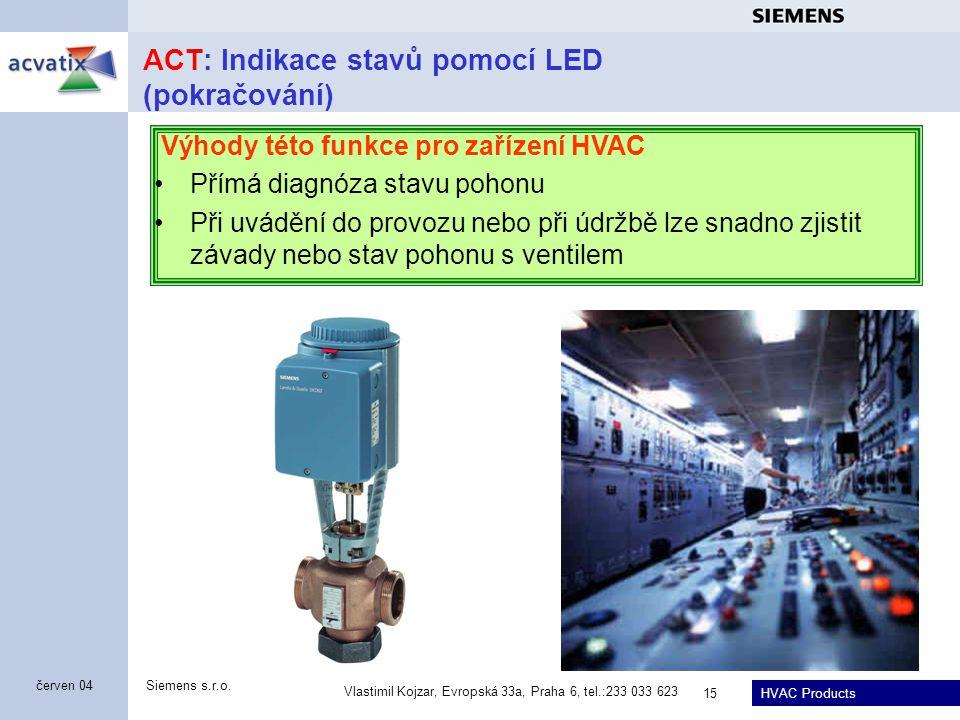 HVAC Products Siemens s.r.o. Vlastimil Kojzar, Evropská 33a, Praha 6, tel.:233 033 623 15 červen 04 ACT: Indikace stavů pomocí LED (pokračování) Výhod