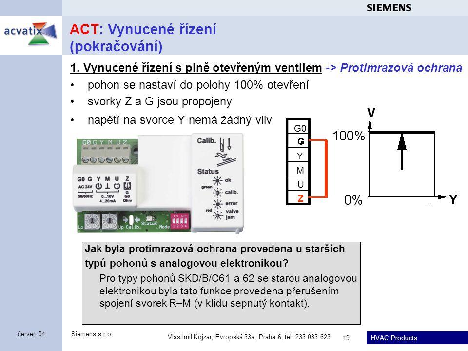 HVAC Products Siemens s.r.o. Vlastimil Kojzar, Evropská 33a, Praha 6, tel.:233 033 623 19 červen 04 ACT: Vynucené řízení (pokračování) 1. Vynucené říz