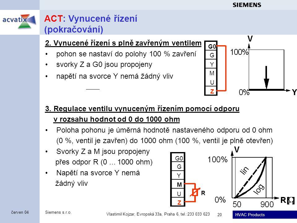 HVAC Products Siemens s.r.o. Vlastimil Kojzar, Evropská 33a, Praha 6, tel.:233 033 623 20 červen 04 ACT: Vynucené řízení (pokračování) 2. Vynucené říz