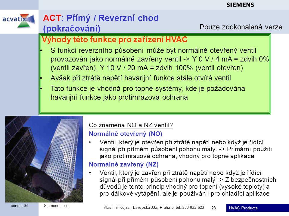 HVAC Products Siemens s.r.o. Vlastimil Kojzar, Evropská 33a, Praha 6, tel.:233 033 623 28 červen 04 ACT: Přímý / Reverzní chod (pokračování) Co znamen