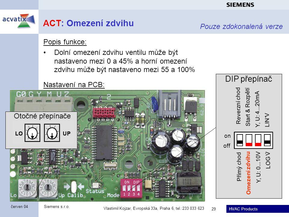 HVAC Products Siemens s.r.o. Vlastimil Kojzar, Evropská 33a, Praha 6, tel.:233 033 623 29 červen 04 ACT: Omezení zdvihu Popis funkce: Dolní omezení zd