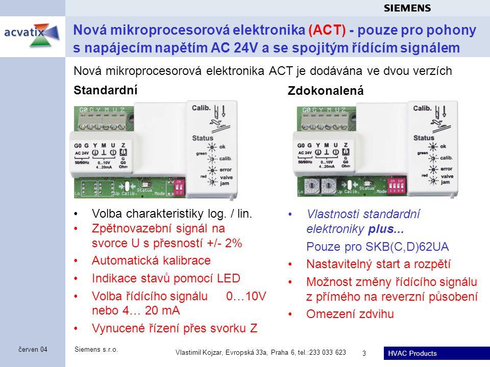 HVAC Products Siemens s.r.o. Vlastimil Kojzar, Evropská 33a, Praha 6, tel.:233 033 623 3 červen 04 Standardní Volba charakteristiky log. / lin. Zpětno