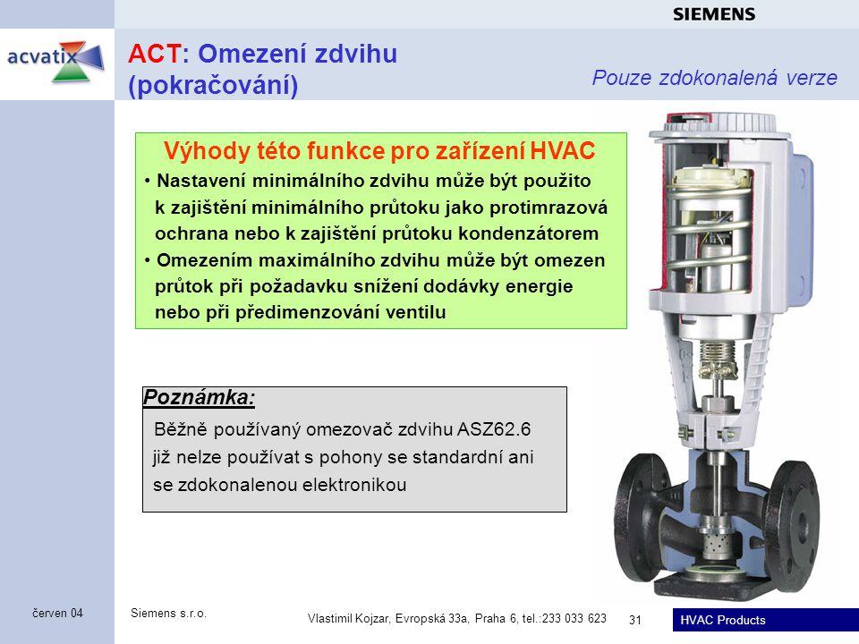 HVAC Products Siemens s.r.o. Vlastimil Kojzar, Evropská 33a, Praha 6, tel.:233 033 623 31 červen 04 ACT: Omezení zdvihu (pokračování) Pouze zdokonalen