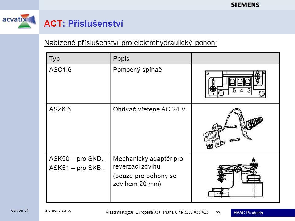 HVAC Products Siemens s.r.o. Vlastimil Kojzar, Evropská 33a, Praha 6, tel.:233 033 623 33 červen 04 ACT: Příslušenství Nabízené příslušenství pro elek