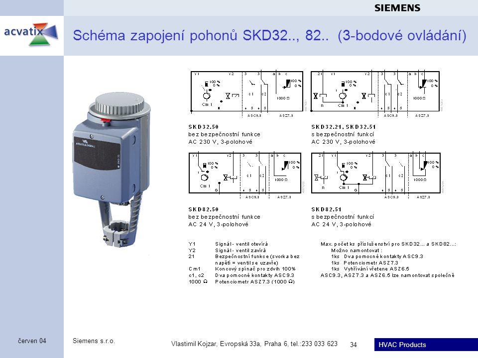 HVAC Products Siemens s.r.o. Vlastimil Kojzar, Evropská 33a, Praha 6, tel.:233 033 623 34 červen 04 Schéma zapojení pohonů SKD32.., 82.. (3-bodové ovl