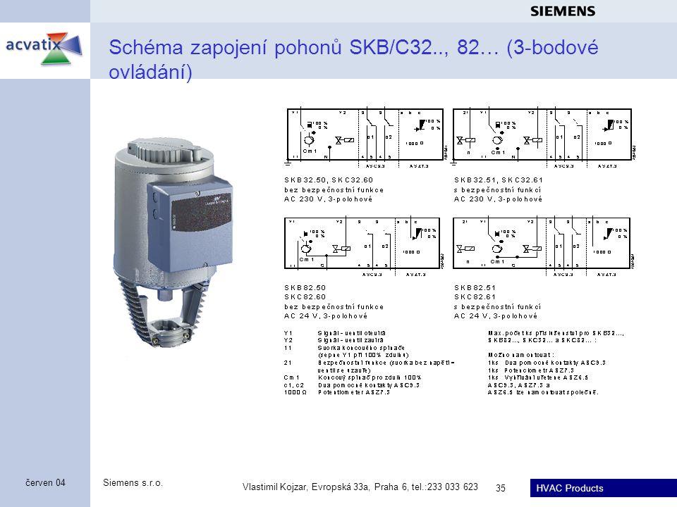 HVAC Products Siemens s.r.o. Vlastimil Kojzar, Evropská 33a, Praha 6, tel.:233 033 623 35 červen 04 Schéma zapojení pohonů SKB/C32.., 82… (3-bodové ov