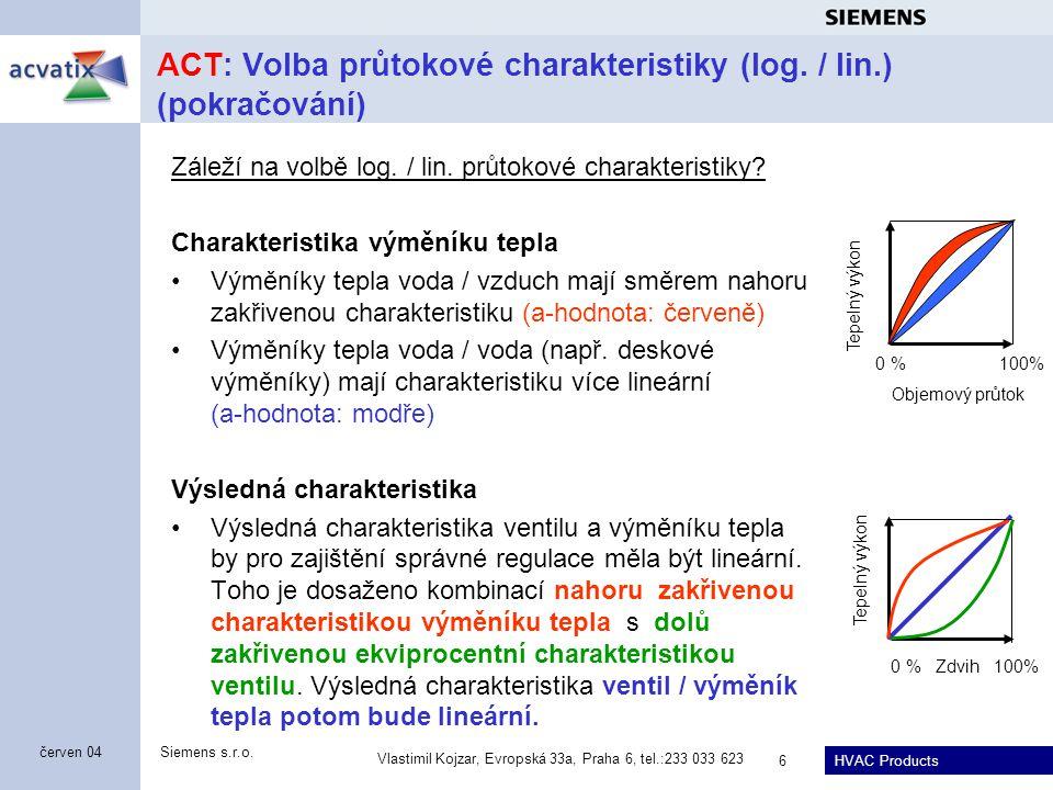 HVAC Products Siemens s.r.o. Vlastimil Kojzar, Evropská 33a, Praha 6, tel.:233 033 623 6 červen 04 ACT: Volba průtokové charakteristiky (log. / lin.)