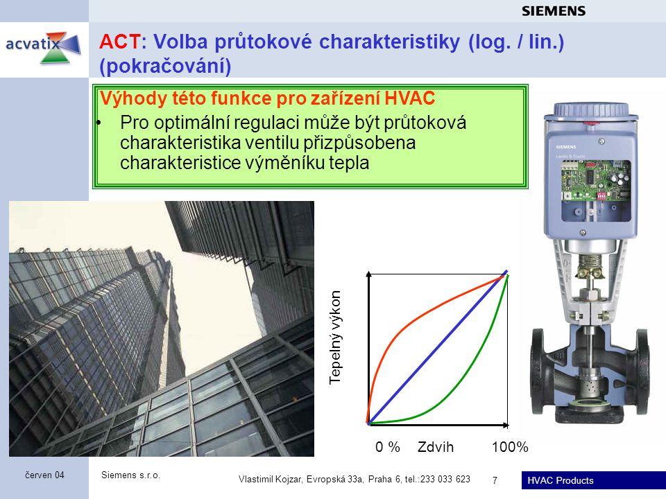 HVAC Products Siemens s.r.o. Vlastimil Kojzar, Evropská 33a, Praha 6, tel.:233 033 623 7 červen 04 ACT: Volba průtokové charakteristiky (log. / lin.)