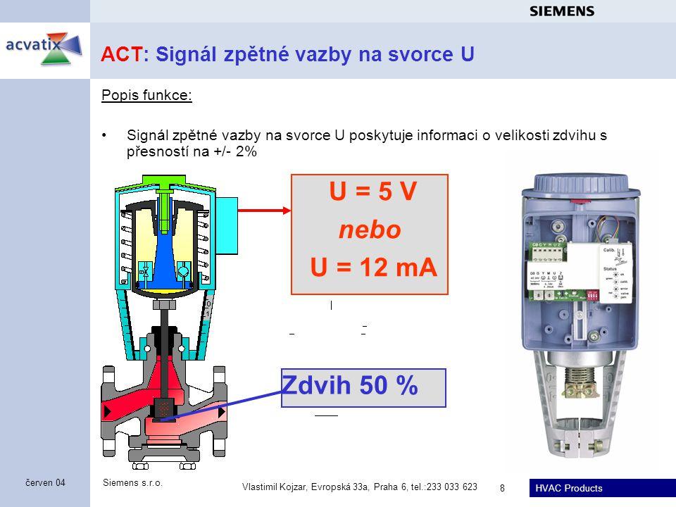 HVAC Products Siemens s.r.o. Vlastimil Kojzar, Evropská 33a, Praha 6, tel.:233 033 623 8 červen 04 ACT: Signál zpětné vazby na svorce U Popis funkce: