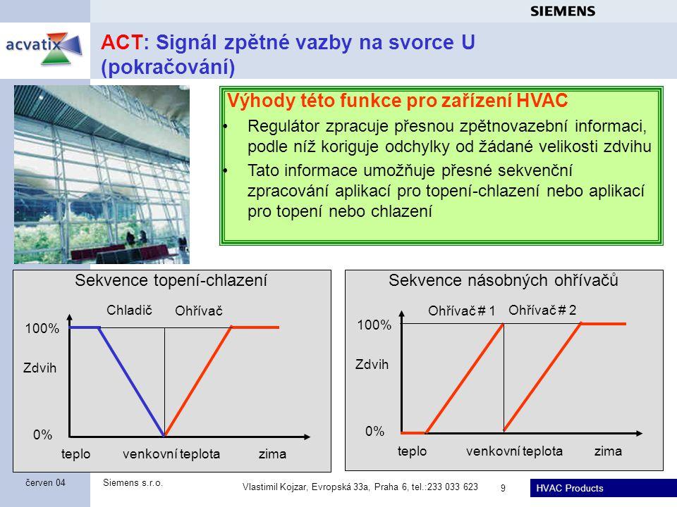 HVAC Products Siemens s.r.o. Vlastimil Kojzar, Evropská 33a, Praha 6, tel.:233 033 623 9 červen 04 ACT: Signál zpětné vazby na svorce U (pokračování)