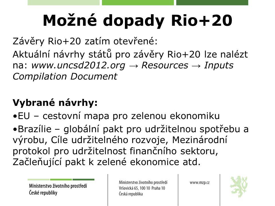 Možné dopady Rio+20 Závěry Rio+20 zatím otevřené: Aktuální návrhy států pro závěry Rio+20 lze nalézt na: www.uncsd2012.org → Resources → Inputs Compilation Document Vybrané návrhy: EU – cestovní mapa pro zelenou ekonomiku Brazílie – globální pakt pro udržitelnou spotřebu a výrobu, Cíle udržitelného rozvoje, Mezinárodní protokol pro udržitelnost finančního sektoru, Začleňující pakt k zelené ekonomice atd.