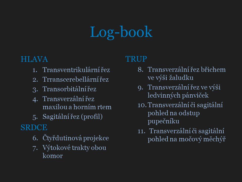 Log-book HLAVA 1.Transventrikulární řez 2.Trranscerebellární řez 3.Transorbitální řez 4.Transverzální řez maxilou a horním rtem 5.Sagitální řez (profi