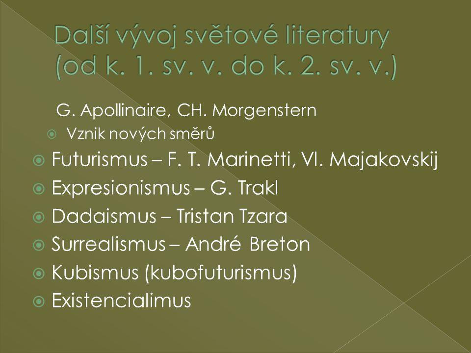 G. Apollinaire, CH. Morgenstern  Vznik nových směrů  Futurismus – F. T. Marinetti, Vl. Majakovskij  Expresionismus – G. Trakl  Dadaismus – Tristan