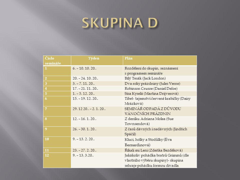 Číslo semináře TýdenPlán 1 6. – 10. 10. 20.. Rozdělení do skupin, seznámení s programem semináře 2 20. – 24. 10. 20..Bílý Tesák (Jack London) 3 3. – 7