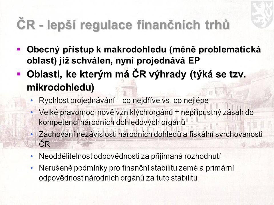 ČR - lepší regulace finančních trhů  Obecný přístup k makrodohledu (méně problematická oblast) již schválen, nyní projednává EP  Oblasti, ke kterým má ČR výhrady (týká se tzv.