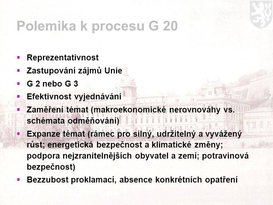 Polemika k procesu G 20  Reprezentativnost  Zastupování zájmů Unie  G 2 nebo G 3  Efektivnost vyjednávání  Zaměření témat (makroekonomické nerovnováhy vs.