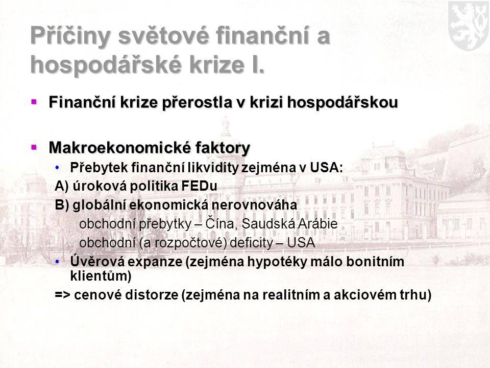 Příčiny světové finanční a hospodářské krize I.