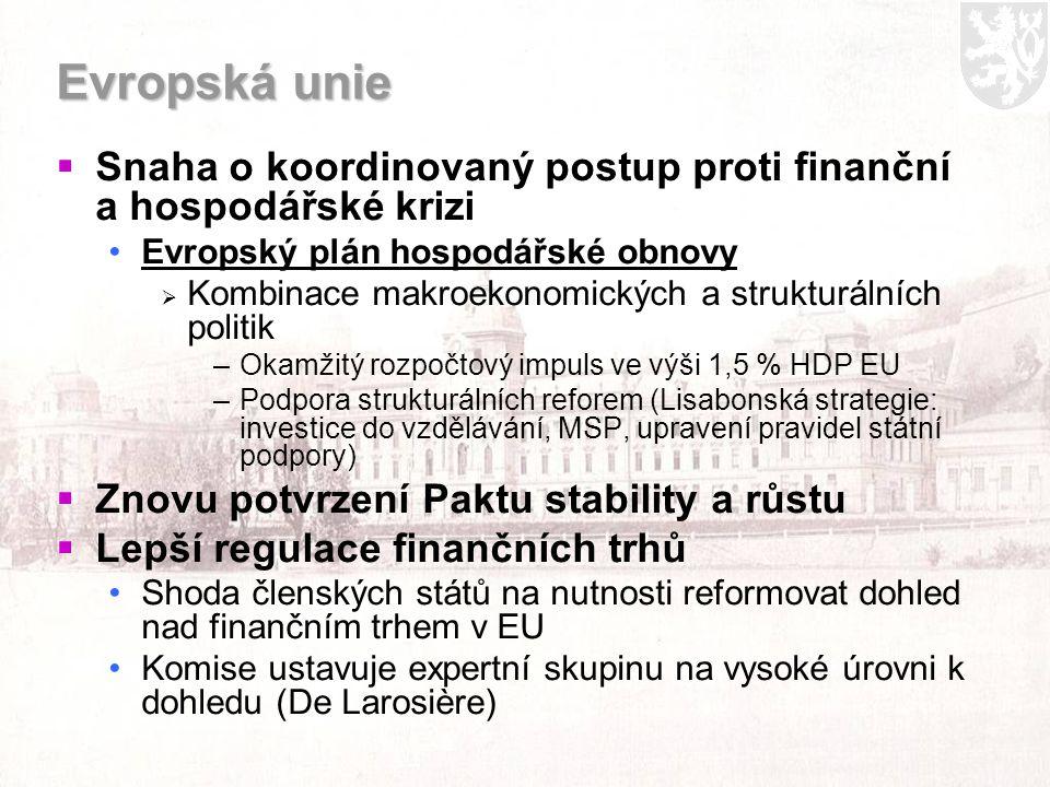 Evropská unie  Snaha o koordinovaný postup proti finanční a hospodářské krizi Evropský plán hospodářské obnovy  Kombinace makroekonomických a strukturálních politik –Okamžitý rozpočtový impuls ve výši 1,5 % HDP EU –Podpora strukturálních reforem (Lisabonská strategie: investice do vzdělávání, MSP, upravení pravidel státní podpory)  Znovu potvrzení Paktu stability a růstu  Lepší regulace finančních trhů Shoda členských států na nutnosti reformovat dohled nad finančním trhem v EU Komise ustavuje expertní skupinu na vysoké úrovni k dohledu (De Larosière)
