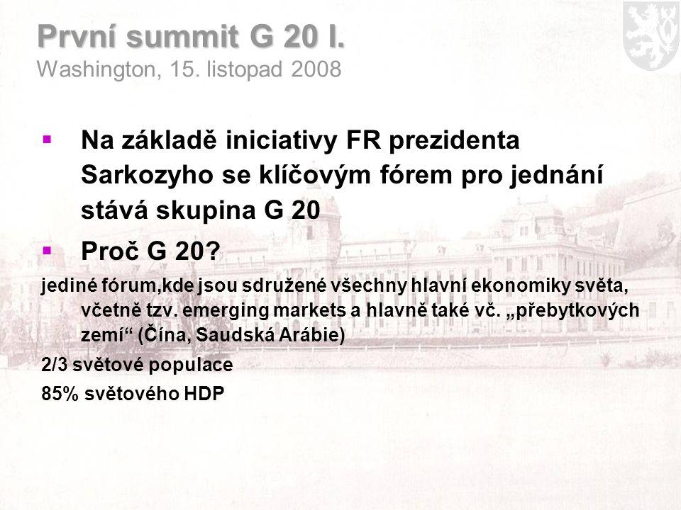 První summit G 20 I. První summit G 20 I. Washington, 15.