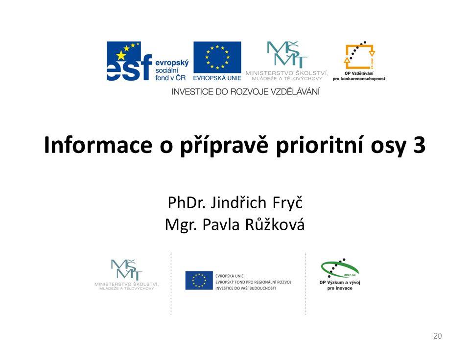 Informace o přípravě prioritní osy 3 PhDr. Jindřich Fryč Mgr. Pavla Růžková 20
