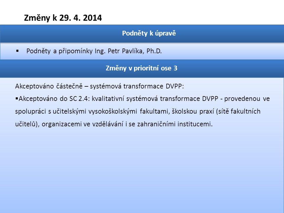 Změny k 29. 4. 2014  Podněty a připomínky Ing. Petr Pavlíka, Ph.D. Podněty k úpravě Změny v prioritní ose 3 Akceptováno částečně – systémová transfor