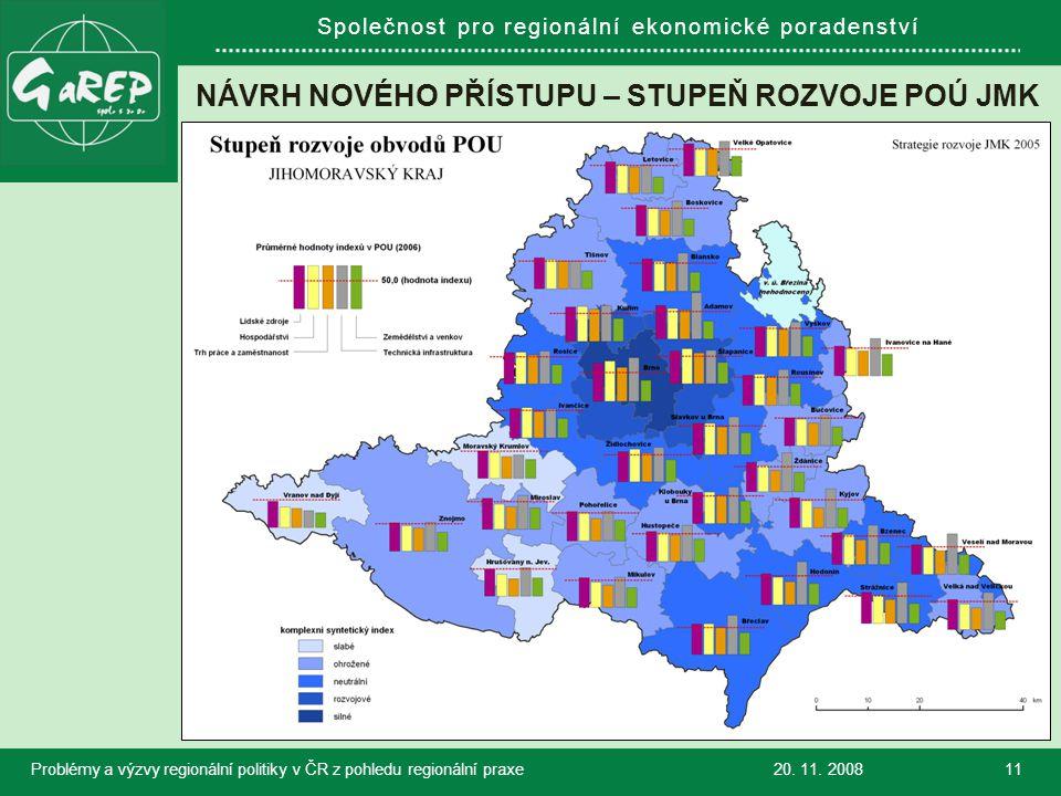 Společnost pro regionální ekonomické poradenství NÁVRH NOVÉHO PŘÍSTUPU – STUPEŇ ROZVOJE POÚ JMK 20.