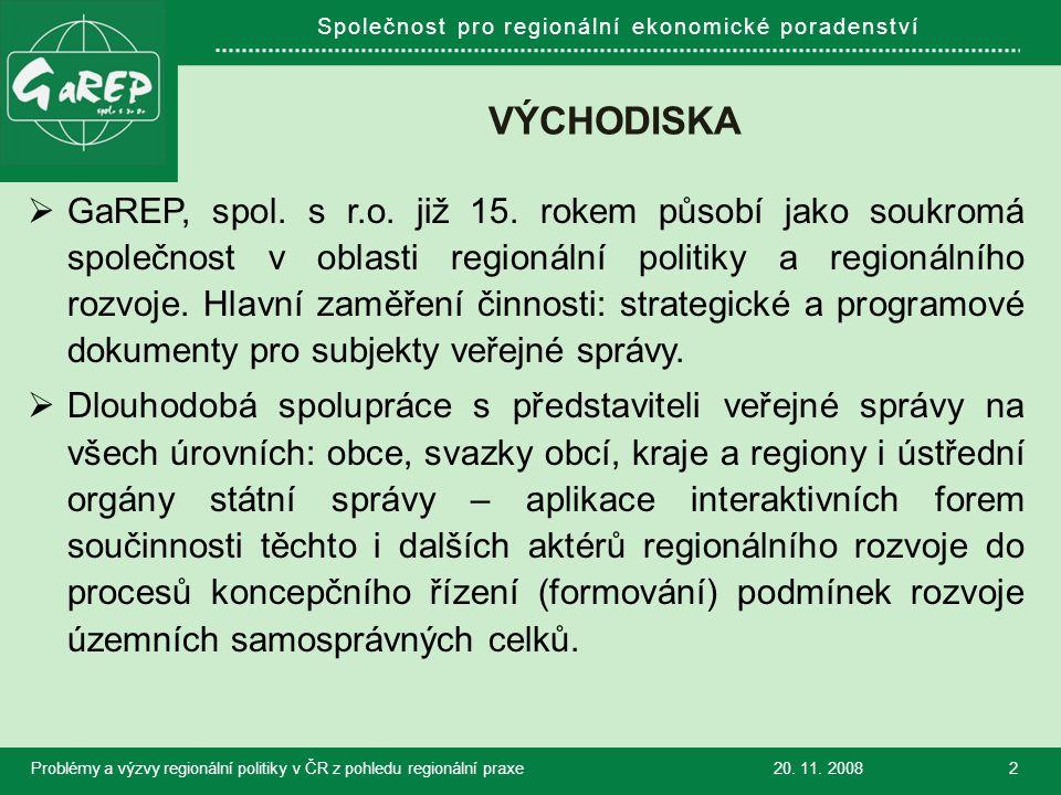 Společnost pro regionální ekonomické poradenství VÝZKUMNÉ AKTIVITY JAKO ŠANCE HLEDAT ŘEŠENÍ A NALEZENÁ ŘEŠENÍ APLIKOVAT  Od roku 2004 se společnost GaREP účastní specifických projektů a aplikovaného výzkumu v oblasti regionálního rozvoje, rozvoje venkova, rozvoje lidských zdrojů i optimalizace procesů uspořádání kompetencí veřejné správy (pro MMR, MZe, MŠMT, MV)  Hlavní záměr: hledání nových řešení předmětných problémů a přispění ke zvýšení efektivnosti řešení těch stávajících.
