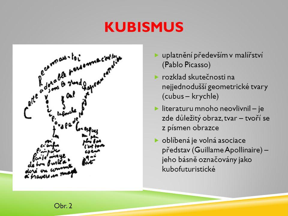 KUBISMUS  uplatnění především v malířství (Pablo Picasso)  rozklad skutečnosti na nejjednodušší geometrické tvary (cubus – krychle)  literaturu mnoho neovlivnil – je zde důležitý obraz, tvar – tvoří se z písmen obrazce  oblíbená je volná asociace představ (Guillame Apollinaire) – jeho básně označovány jako kubofuturistické Obr.