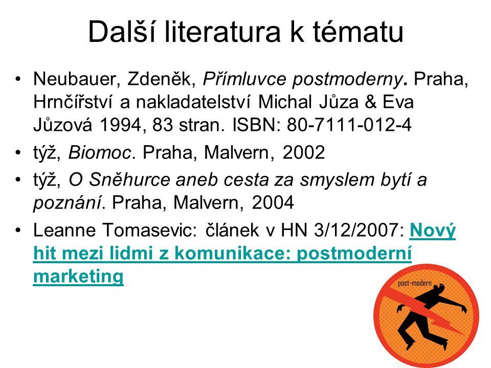 Další literatura k tématu Neubauer, Zdeněk, Přímluvce postmoderny. Praha, Hrnčířství a nakladatelství Michal Jůza & Eva Jůzová 1994, 83 stran. ISBN: 8