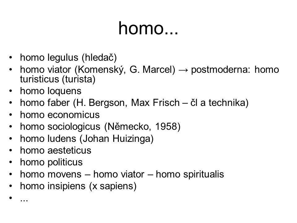 homo... homo legulus (hledač) homo viator (Komenský, G. Marcel) → postmoderna: homo turisticus (turista) homo loquens homo faber (H. Bergson, Max Fris