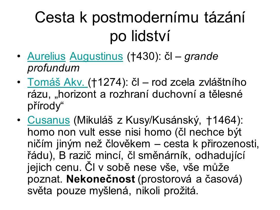 Cesta k postmodernímu tázání po lidství Aurelius Augustinus (†430): čl – grande profundumAureliusAugustinus Tomáš Akv. (†1274): čl – rod zcela zvláštn