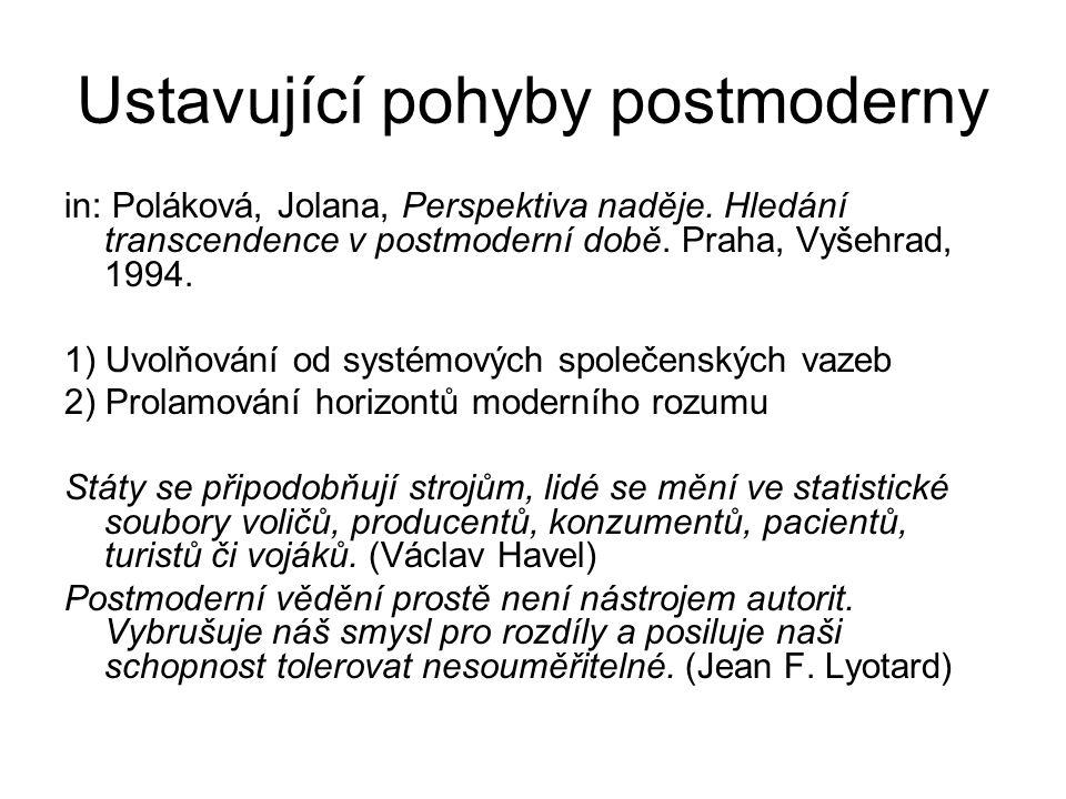 """Ahistoričnost postmoderny pluralita jako princip rezignace na otázku pro jednom výkladu, smyslu prožitek, zakoušení světa namísto racionální kritické analýzy, snahy po odhalení podstaty, pochopení, pojetí (pojem) postmoderna je ahistorická: nezajímá se o historické kontexty, ani o velká vyprávění možná reakce na historismus, který v Evropě živil nacionalismus, konfesní a ideové konflikty ahistorismus jako """"nová svoboda ?"""