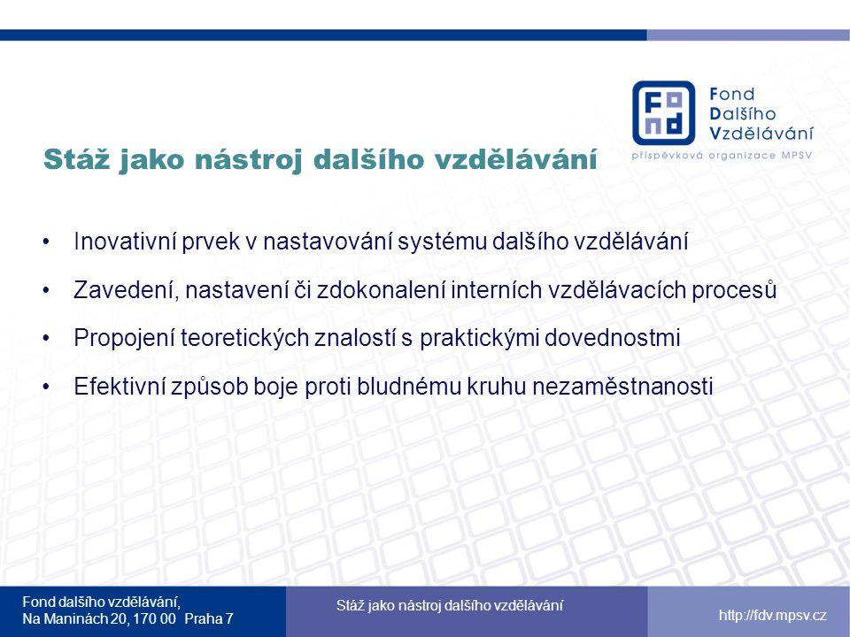 Fond dalšího vzdělávání, Na Maninách 20, 170 00 Praha 7 Stáž jako nástroj dalšího vzdělávání http://fdv.mpsv.cz Stáže ve firmách – vzdělávání praxí Operační program Vzdělávání pro konkurenceschopnost Rozpočet: 800 mil.