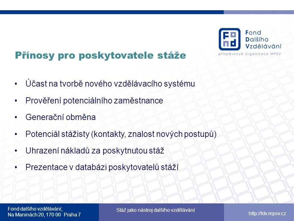 Fond dalšího vzdělávání, Na Maninách 20, 170 00 Praha 7 Stáž jako nástroj dalšího vzdělávání http://fdv.mpsv.cz Přínosy pro poskytovatele stáže