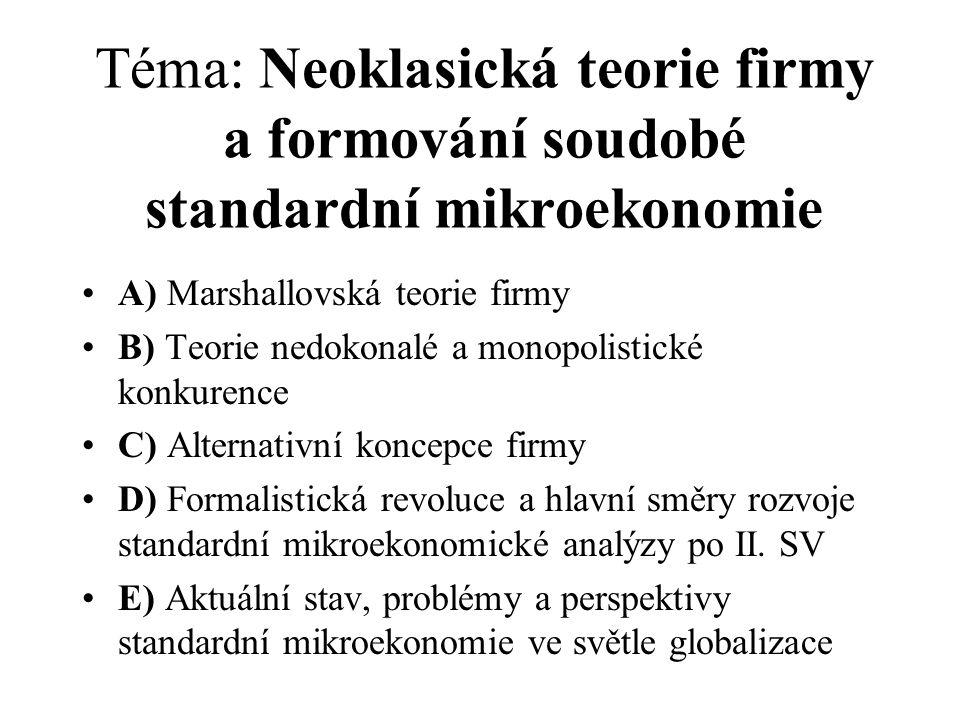 Téma: Neoklasická teorie firmy a formování soudobé standardní mikroekonomie A) Marshallovská teorie firmy B) Teorie nedokonalé a monopolistické konkur