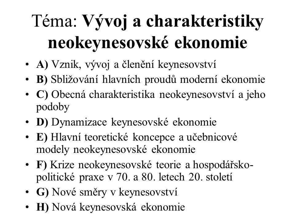 Téma: Vývoj a charakteristiky neokeynesovské ekonomie A) Vznik, vývoj a členění keynesovství B) Sbližování hlavních proudů moderní ekonomie C) Obecná
