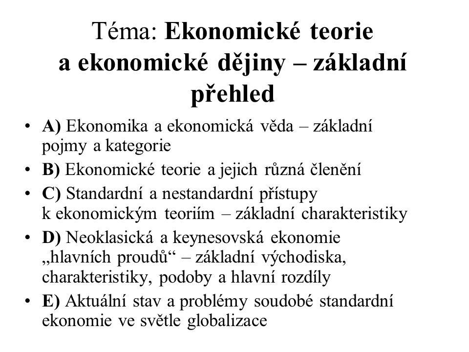 Téma: Ekonomické teorie a ekonomické dějiny – základní přehled A) Ekonomika a ekonomická věda – základní pojmy a kategorie B) Ekonomické teorie a jeji