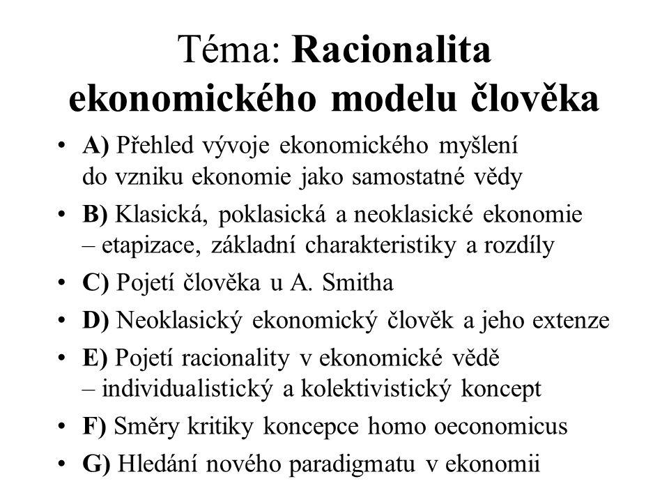 Téma: Racionalita ekonomického modelu člověka A) Přehled vývoje ekonomického myšlení do vzniku ekonomie jako samostatné vědy B) Klasická, poklasická a
