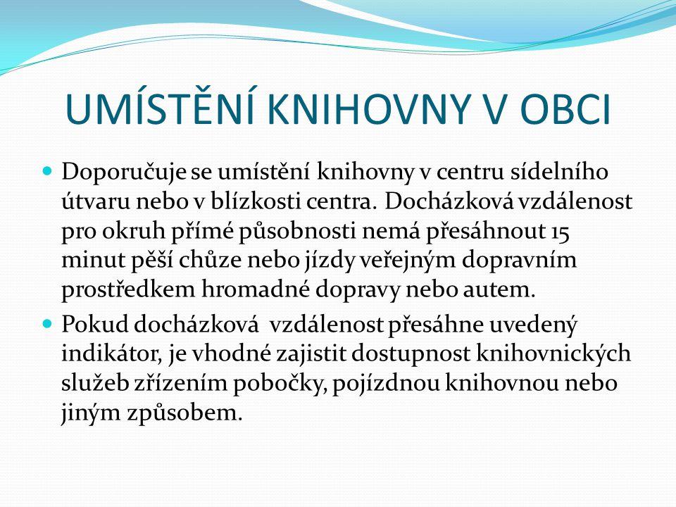 UMÍSTĚNÍ KNIHOVNY V OBCI Doporučuje se umístění knihovny v centru sídelního útvaru nebo v blízkosti centra.