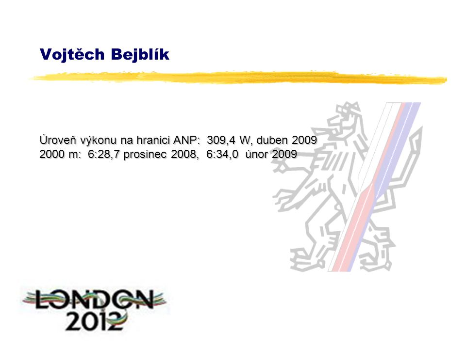 Vojtěch Bejblík Úroveň výkonu na hranici ANP: 309,4 W, duben 2009 2000 m: 6:28,7 prosinec 2008, 6:34,0 únor 2009