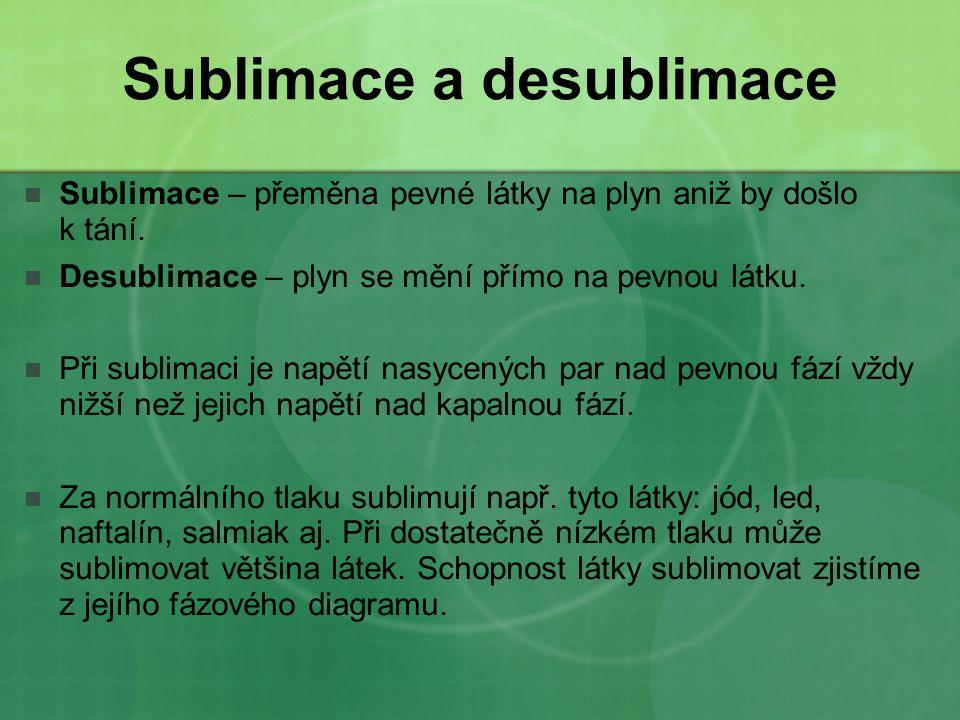 Sublimace a desublimace Sublimace – přeměna pevné látky na plyn aniž by došlo k tání. Desublimace – plyn se mění přímo na pevnou látku. Při sublimaci