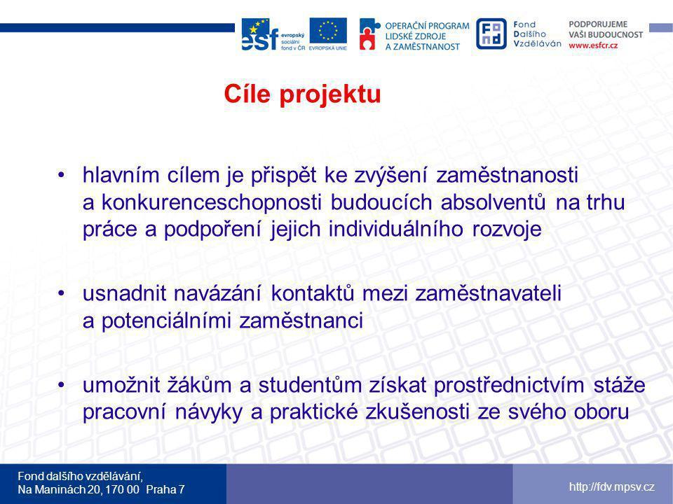 Fond dalšího vzdělávání, Na Maninách 20, 170 00 Praha 7 http://fdv.mpsv.cz Cíle projektu hlavním cílem je přispět ke zvýšení zaměstnanosti a konkurenceschopnosti budoucích absolventů na trhu práce a podpoření jejich individuálního rozvoje usnadnit navázání kontaktů mezi zaměstnavateli a potenciálními zaměstnanci umožnit žákům a studentům získat prostřednictvím stáže pracovní návyky a praktické zkušenosti ze svého oboru