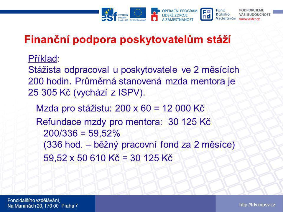 Fond dalšího vzdělávání, Na Maninách 20, 170 00 Praha 7 http://fdv.mpsv.cz Finanční podpora poskytovatelům stáží Příklad: Stážista odpracoval u poskytovatele ve 2 měsících 200 hodin.