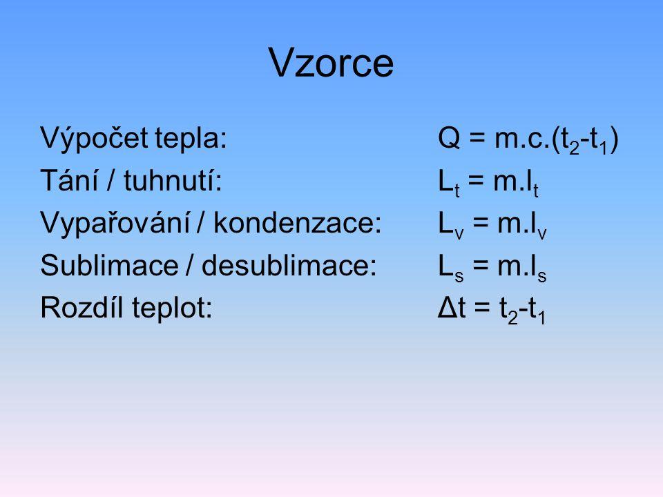 Vzorce Výpočet tepla: Q = m.c.(t 2 -t 1 ) Tání / tuhnutí: L t = m.l t Vypařování / kondenzace: L v = m.l v Sublimace / desublimace: L s = m.l s Rozdíl