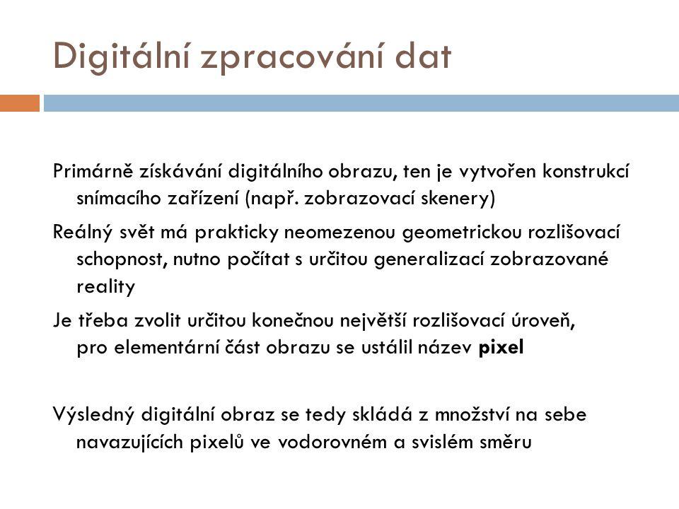 Digitální zpracování dat Digitální obraz je obrazová informace, které je převedená do číselné podoby, zahrnuje v sobě jak informace topografické tak informace tematické.