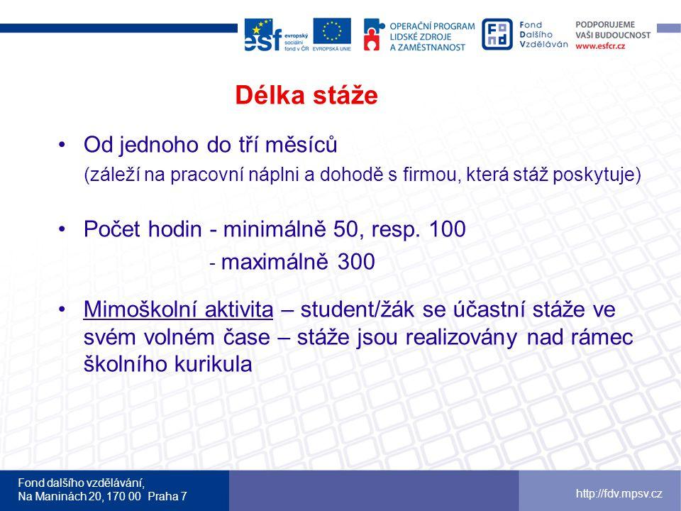 Fond dalšího vzdělávání, Na Maninách 20, 170 00 Praha 7 http://fdv.mpsv.cz Délka stáže Od jednoho do tří měsíců (záleží na pracovní náplni a dohodě s firmou, která stáž poskytuje) Počet hodin - minimálně 50, resp.