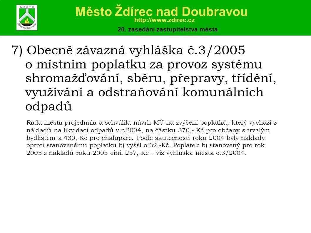7) Obecně závazná vyhláška č.3/2005 o místním poplatku za provoz systému shromažďování, sběru, přepravy, třídění, využívání a odstraňování komunálních odpadů Město Ždírec nad Doubravou http://www.zdirec.cz 20.