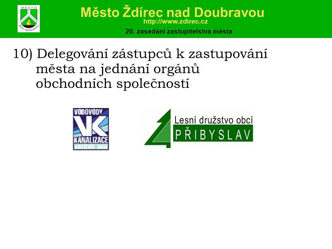 10) Delegování zástupců k zastupování města na jednání orgánů obchodních společností Město Ždírec nad Doubravou http://www.zdirec.cz 20.